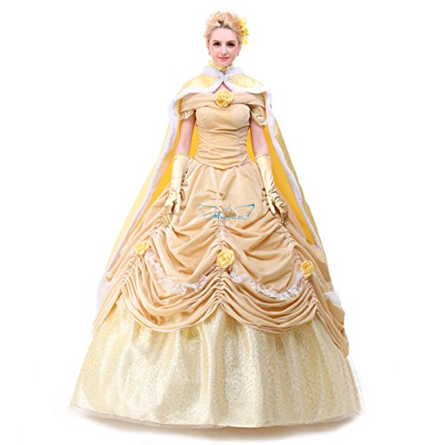 Angelaicos Womens Layered Prom Dresses Palace Queen Costume Cloak Petticoat (L, Velvet Beige) (Beauty Queen Fancy Dress)