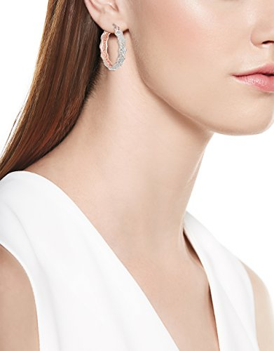 Two Tone Diamond Accent Twisted Hoop Earrings