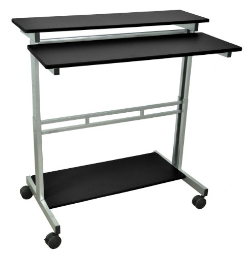 DMD Extra Wide Stand-Up Mobile Audio Visual (AV) Presentation and Workstation for Laptops, Tablets and Projectors or Data Entry, Black by Discount Medical Depot LLC