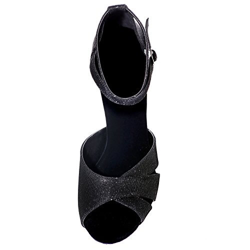 Standard Chaussures 5cm Elobaby Femmes Black Boucle pour De A8349 Talon Latin Peep Evening Glitter Danse Toes 7 HwdvRwq