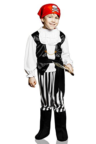 Kids Boys Rogue Pirate Halloween Costume High Seas Buccaneer Dress Up & Role Play (3-6 years, black, white, red)