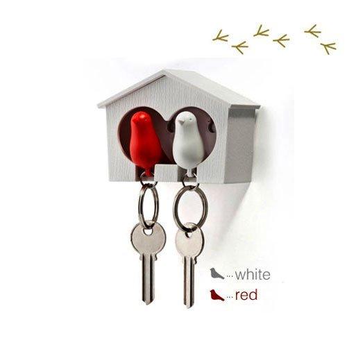 DUO Wood House Sparrow Bird Key Ring + Key Holder + Whistle - White/Red Bird
