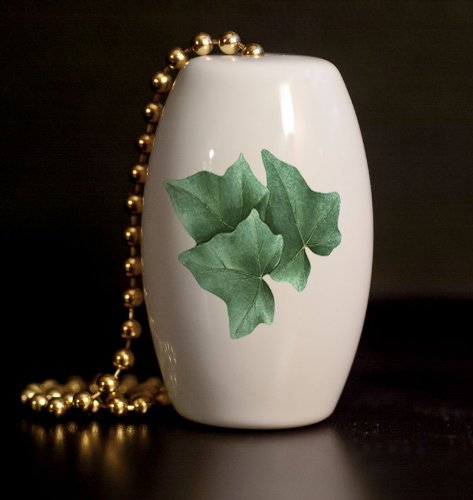 Ivy Leaves Porcelain Fan / Light Pull