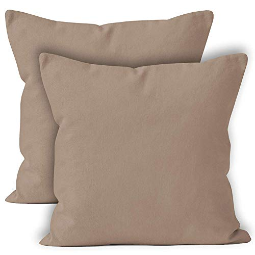 Encasa Homes Throw Cushion Cover 2pc Set - Beige - 18 x 18 inch Solid Dyed Cotton Canvas Square Accent Decorative Pillow Case for Couch Sofa Chair Bed & Home -