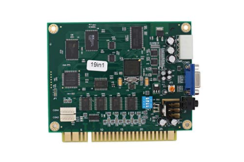 XtremeAmazing Horizontal Multicade Arcade Multigame PCB Board for Jamma Video Game 19 in 1 Supports CGA and VGA Monitors.