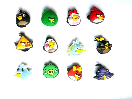 12 pc Set of Shoe Charms Angry Birds