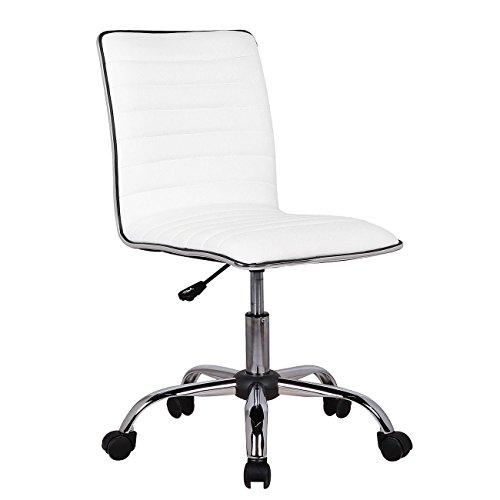 Big Dolly Chair (Low Back Armless White Ribbed Leather Designer Swivel Task Computer Desk Chair)