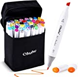 Ohuhu 40-color Alcohol Markers, Dual Tips Permanent Art Markers for Kids, Highlighter Pen Sketch Markers for Drawing Sketching Adult Coloring, Alcohol-based Markers, BONUS 1 Alcohol Marker Blender