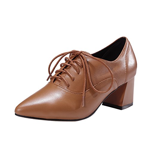 NIUERTE Women's Genuine Leather Chunky Heel Pointed Toe Oxford Shoes Brown 7 B(M) US
