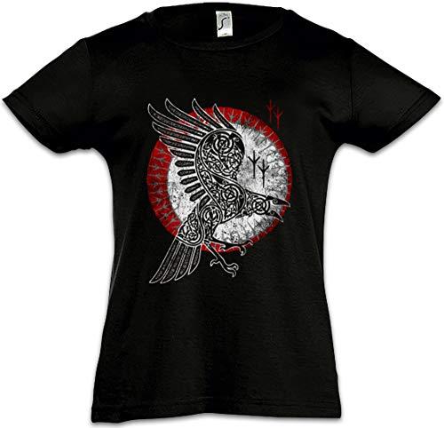 Urban Backwoods Norse Raven Kids Girls Children T-Shirt Black