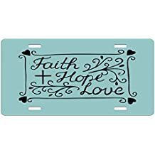 Hope License Plate by Ambesonne, Hand Lettering Spiritual Faith Hope Love Quote with Floral Arrangement Hearts, High Gloss Aluminum Novelty Plate, 5.88 L X 11.88 W Inches, Pale Blue and Black