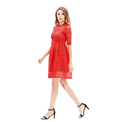 ricamo Go Easy pizzo Red slim Abito per corte maniche a temperamento Shopping in femminile fPPq1