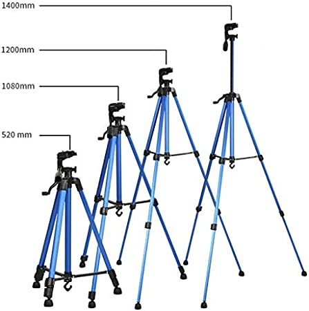 Color : Blue JIN Tripods Portable Phone Live Selfie 3366 Tripod Stand DV SLR Camera Self-Timer Full Light Bracket Silver