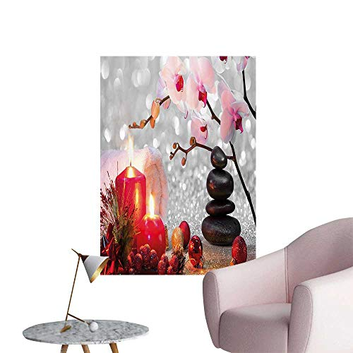 Wall Decoration Wall Stickers Winter Christmas Theme with Pink Orchid Ste and Red Candles Bathroom Print Artwork,24