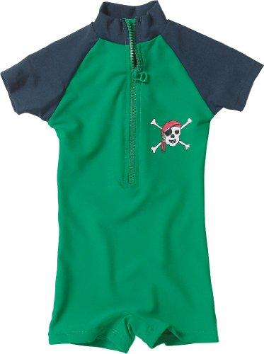 Playshoes Baby - Jungen Schwimmbekleidung 460081 Bade - Einteiler / Badehose Pirat von Playshoes mit höchstem UV-Schutz nach Standard 801 und Oeko-Tex Standard 100, Gr. 98/104, Grün (791 blau/grün)