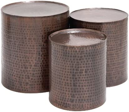 Deco 79 23851 Small Brown Hammered Metal Round End Tables Set of 3