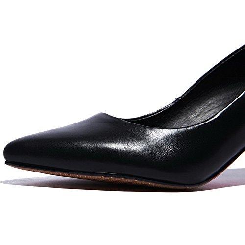AllhqFashion Material en Vaca Cuero Slip on Tacón nbsp;de Puntera Medio Punta Suave Zapatos Mujer de Negro nbsp;Tacón rWCrn