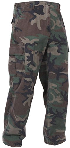 Woodland Camo Vintage Military Rip-Stop Vietnam Era BDU Fatigue Pants