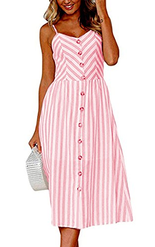 Angashion Women's Dresses-Summer Floral Bohemian Spaghetti Strap Button Down Swing Midi Dress with Pockets 0895 Pink M