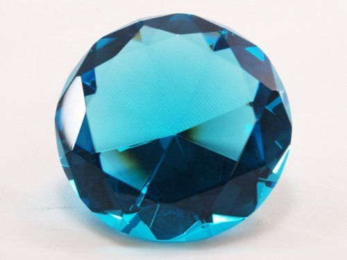 100 mm Turquoise Diamond Shaped Crystal Jewel Paperweight by Tripact - 06