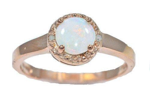 Genuine Opal & Diamond Round Ring 14Kt Rose Gold Plated Over .925 Sterling Silver 14kt Genuine Birthstone Mothers Ring