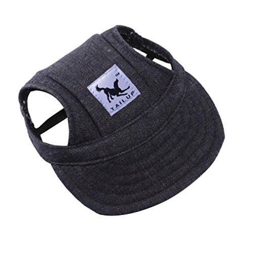 Cat Pets Cap - Pet Hat, OOEOO Visor Cap with Ear Hole Summer Dog Cat Baseball Cap Puppy Hat Sunbonnet (Denim Black)