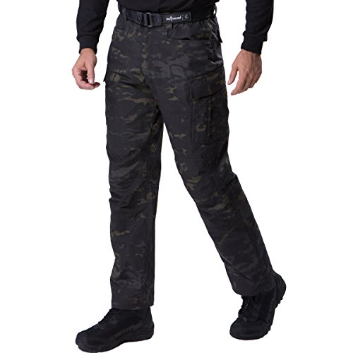 FREE SOLDIER Men's Water Resistant Pants Relaxed Fit Tactical Combat Army Cargo with Multi Pocket(Dark Camo 36W/31.5L)