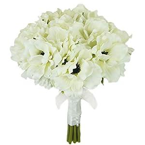 Lily Garden Silk Anemone Artificial Flowers Wedding Bouquet (Ivory) 70