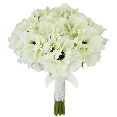 Lily Garden Silk Anemone Artificial Flowers Wedding Bouquet (Ivory)