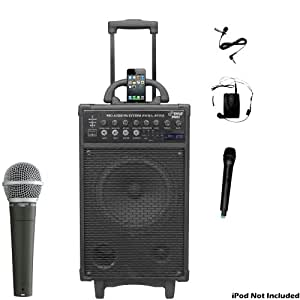 pyle mic and speaker package pwma890ui 500 watt dual channel wireless rechargeable. Black Bedroom Furniture Sets. Home Design Ideas