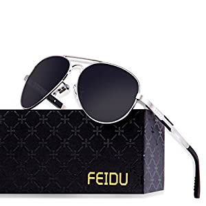 Polarized Aviator Sunglasses for Men - FEIDU Driving Sunglasses Unisex FD9001(Black/Silver, 2.28)