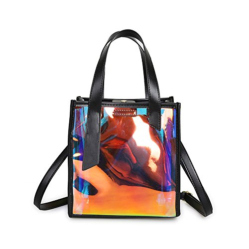 Mn&Sue Summer Vacation Women's Designer Celebrity Hologram Laser Jelly Candy Bag Shoulder Purse (Black-Style (Celebrity Style Handbag Bag)
