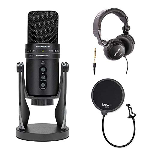 (Samson G-Track Pro USB Microphone with Headphones and Knox Pop Filter)