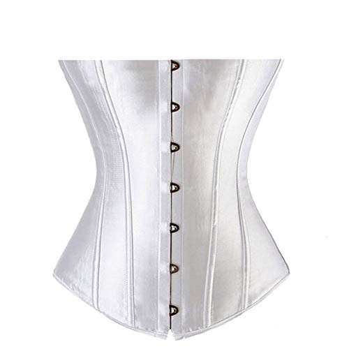 Women's Gothic Steampunk Waist Trainer Corset Brocade Overbust Top Corsets Bustiers with G-String