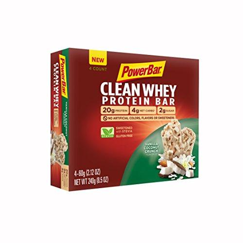 PowerBar Clean Whey Bar, Vanilla Coconut Crunch, 2.12 oz Bar, (4 Count)