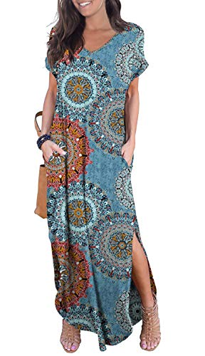 GRECERELLE Women's Casual Loose Long Dress Short Sleeve Floral Print Maxi Dresses with Pockets Mix Blue-2XL (Long Sleeve V Neck Dress Plus Size)