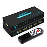SGEYR HDMI Switch 5 Port V1.4 HDMI Switcher 5 in 1 Out HDMI Switch Selector Box with IR Upgraded Remote Control Support 4K 30Hz Ultra HD 3D 2160P 1080P HDMI 1.4 HDCP 1.4