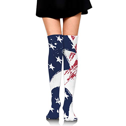 QG ZZX American Flag Eagle Drawing Women's Knee High Socks Casual Compression Stockings for Running Sports Soccer Socks Stocking for Women
