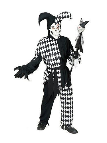 Jester Plus Size Costumes (Wicked Chamber Jester Adult Costume Black and White - X-Large)