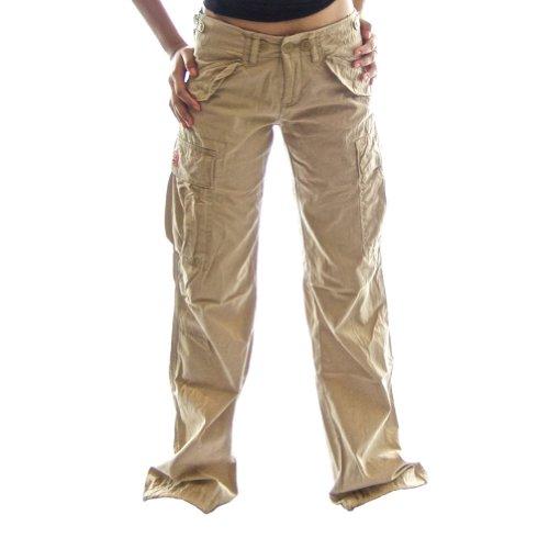 Ladies Cargo Jungle Jeans 45041 - 100% Cotton Slim Fit Womens Combat Trousers, Medium/12 Desert Khaki Cream Khaki Cream