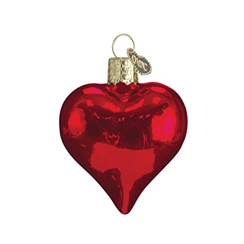 Old World Christmas Assortment Glass Blown Ornaments for Christmas Tree Shiny Red Heart