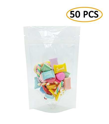 Heatseal Tea Bags (50 PCS Clear Stand-Up Plastic Storage Bag with Resealable Zip, Heat Sealable Reusable Pouch Packing Bag for Juice, Nuts, Beans and Tea Leaves (3.9