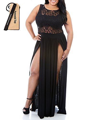 Pyramid Top Women's Plus Size Floral Lace Top High Slit Maxi Long Cocktail Dress (xxl, black) (Sexy Plus Dress)