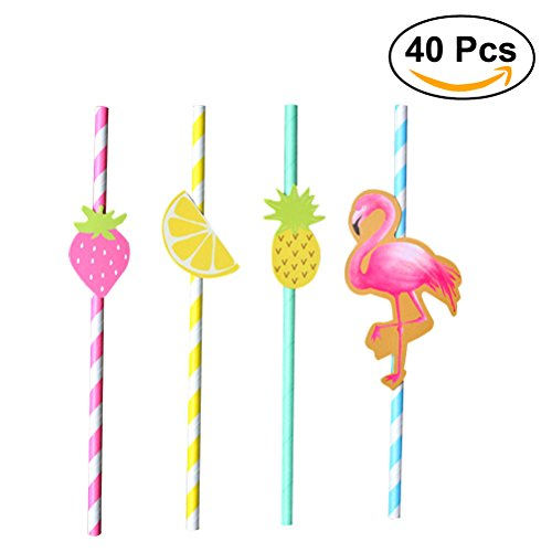 OUNONA 40pcs Hawaiian Party Paper Straws Decorative Drinking Straws Luau Party Table Decor BBQ Hawaiian Theme Decoration (Flamingo + Strawberry + Pineapple + Lemon) (Hawaiian Themes For Parties)