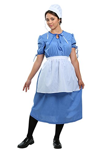 Amish Prairie Woman Costume Medium Light Blue,White -