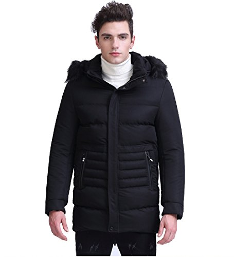 Quoxiao Men's Twill Full-Length Hooded Parka Coat Black ()