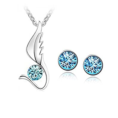 Habors 18K White Gold Plated Blue Austrian Crystal Angel Wing Pendant Set (Diwali Gift) Pendants at amazon