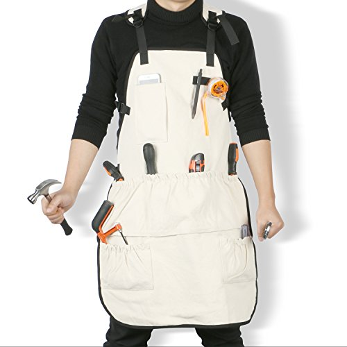 Jeezero Full Coverage Heavy-duty Pressure-free at Neck Carpentery Wood-working Bib Canvas Tool Apron with Pockets-L by Jeezero