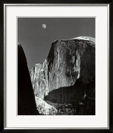 Moon and Half Dome, Yosemite National Park, 1960 Framed Art Poster Print by Ansel Adams, 30x36 - Ansel Adams Half Dome