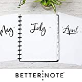 BetterNote 2019-2020 Monthly Calendar Tabbed Dividers for Discbound Planners Fits 11-Disc, Levenger Circa, Arc by Staples, TUL by Office Depot, Letter Size 8.5'x11' Whimsy (Notebook Not Included)
